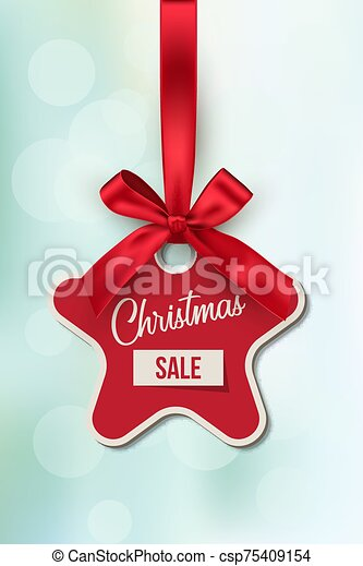 Christmas Sale Vector Tag Template Xmas Discount Advertising Campaign New Year Tree Toy With Ribbon Realistic Illustration Canstock