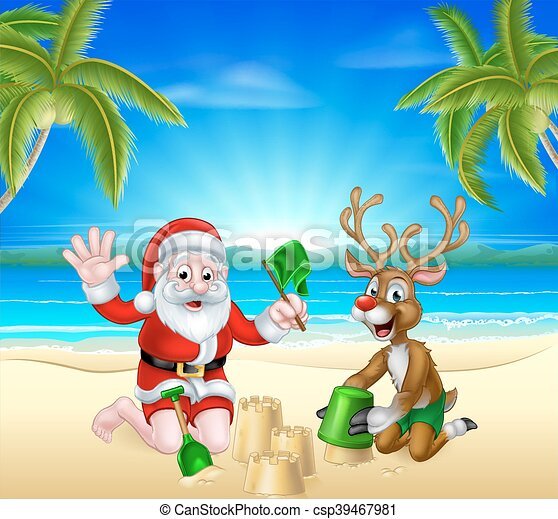 christmas santa and reindeer on summer beach csp39467981 - Christmas Santa Reindeer
