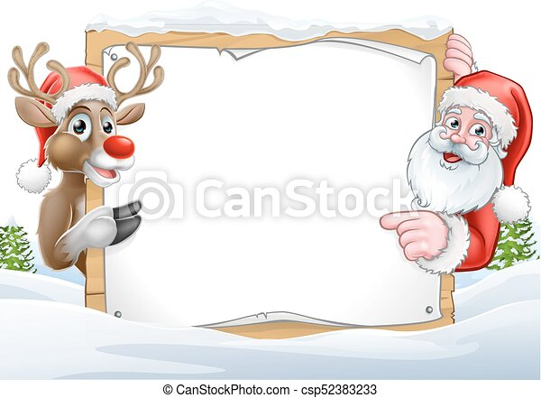 christmas santa and reindeer sign background a christmas background with santa claus and his reindeer cartoon characters https www canstockphoto com christmas santa and reindeer sign 52383233 html