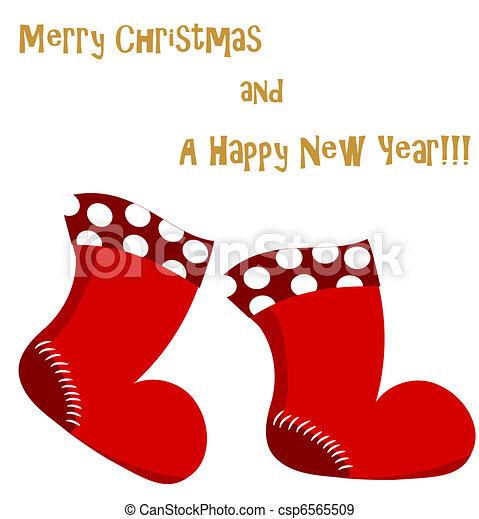 Christmas Boots Drawing.Christmas Santa Boots Card