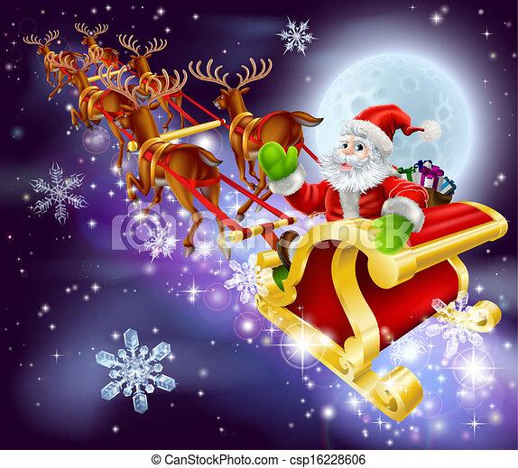 Christmas santa flying in his sled or sleigh. Christmas cartoon ...