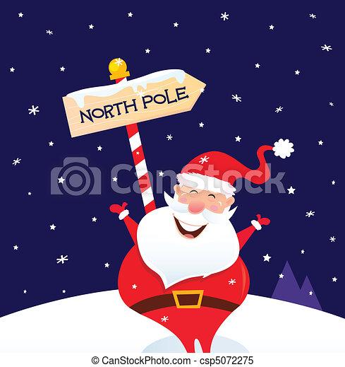 Christmas Santa on north pole - csp5072275