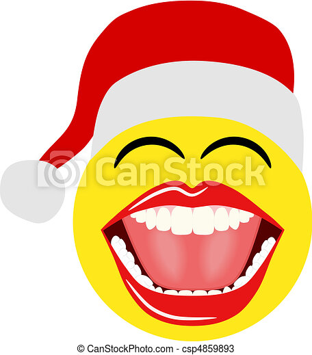 christmas santa smiley this christmas vector illustration features rh canstockphoto com Winter Smiley Face Clip Art Winter Smiley Face Clip Art