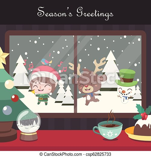 Christmas scene background with singing elf, reindeer and snowman - csp62825733