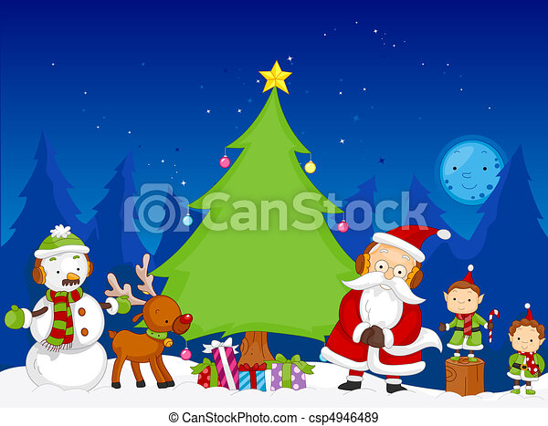 a colorful illustration of a christmas scene featuring various rh canstockphoto com christmas scene clipart christmas manger scene clipart