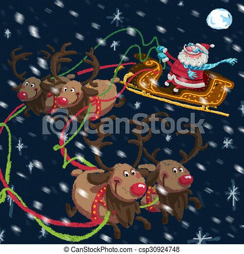 Christmas scene of cartoon Santa Claus with sleigh and reindeers - csp30924748