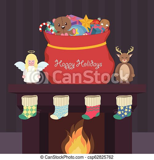 Christmas scene with presents, nutcrackers and stockings - csp62825762