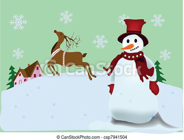 Christmas Scenery Christmas Postcard With Snowman And Reindeer