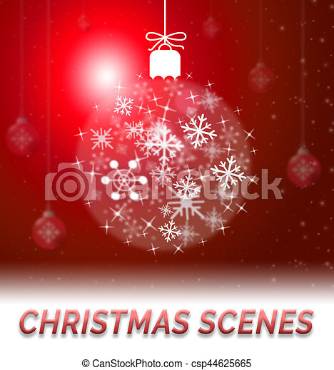 Christmas Scenes Pictures.Christmas Scenes Shows Xmas Scene 3d Illustration