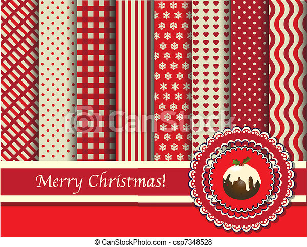 Christmas scrapbooking red and cream - csp7348528