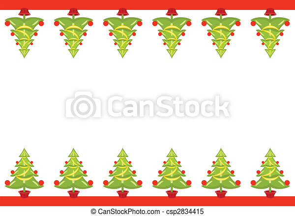 Christmas Seamless Border With Decorated Trees Over White Background