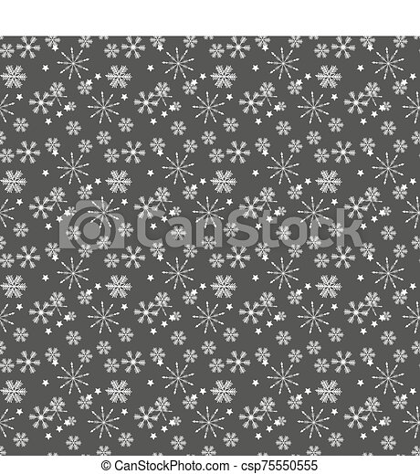 Christmas seamless pattern of complex big and small snowflakes in white colors on gray background - csp75550555