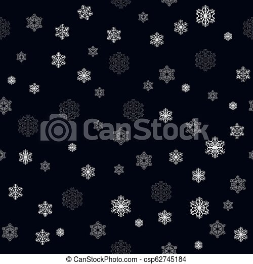 Christmas seamless pattern with big and small detailed white snowflakes on dark blue background, vector EPS 10 - csp62745184