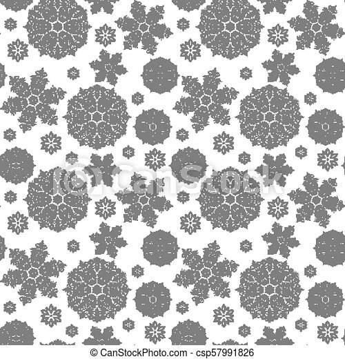 Christmas seamless pattern with snowflakes. New Year background. Vector illustration. - csp57991826