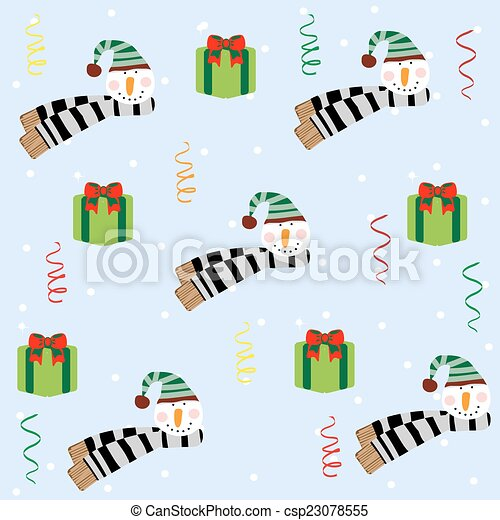 Christmas seamless pattern with snowman - csp23078555
