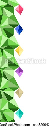 Christmas seamless vertical border. Low Poly Christmas tree with light bulbs in vector - csp52994251