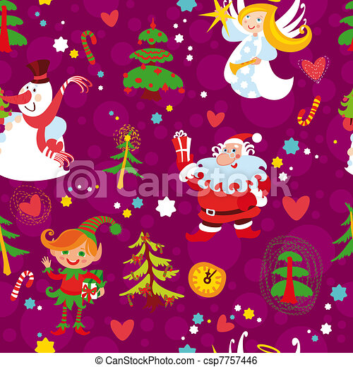 Christmas seamless wallpaper - csp7757446