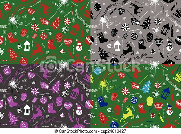 Christmas seamless with greetings - csp24610427