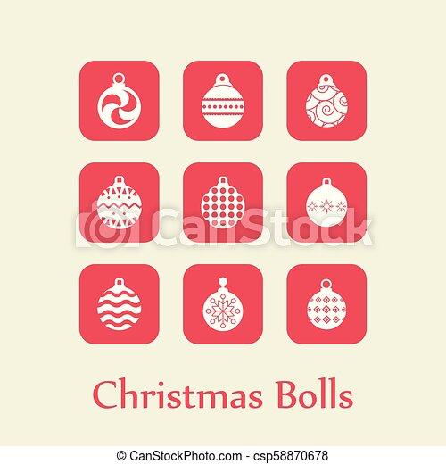 Christmas set of balls vector - csp58870678