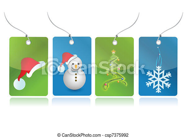 Christmas set of tags illustration  - csp7375992