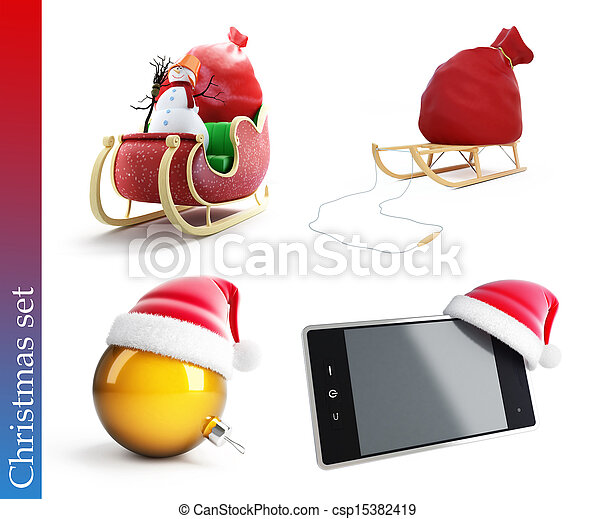 christmas set on a white background - csp15382419