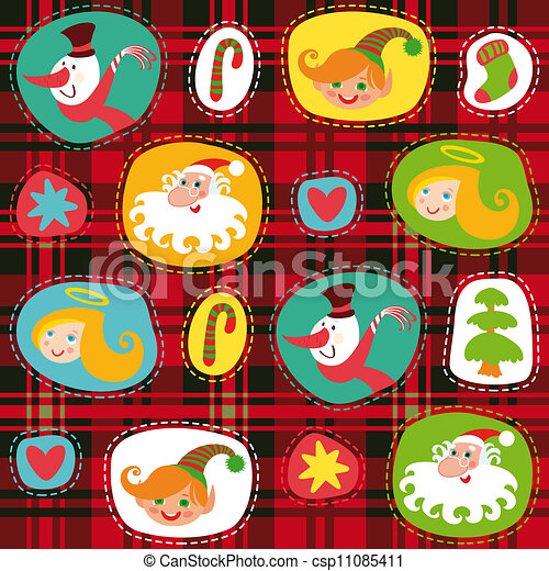 Christmas set, plaid tartan pattern background, wrapping paper - csp11085411