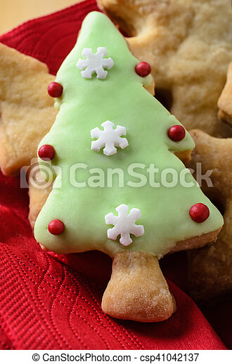 Christmas Shaped Decorated Biscuits Served On Plate