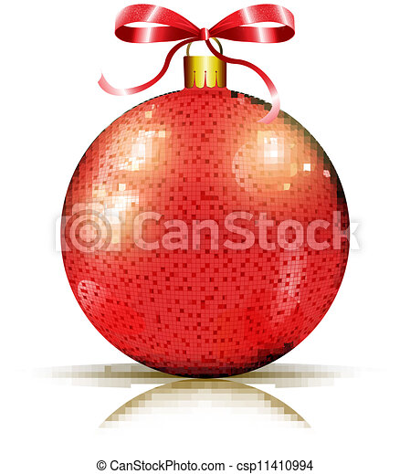 Christmas shiny red bauble - csp11410994