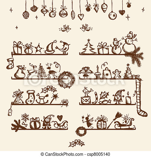 Christmas shop, sketch drawing for your design  - csp8005140