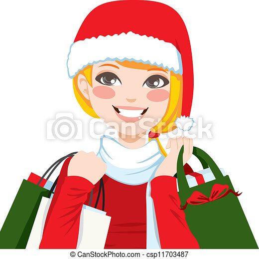 christmas shopping blonde beautiful blonde woman happy vector rh canstockphoto com Christmas Shopping Art Christmas Shopping Cartoons