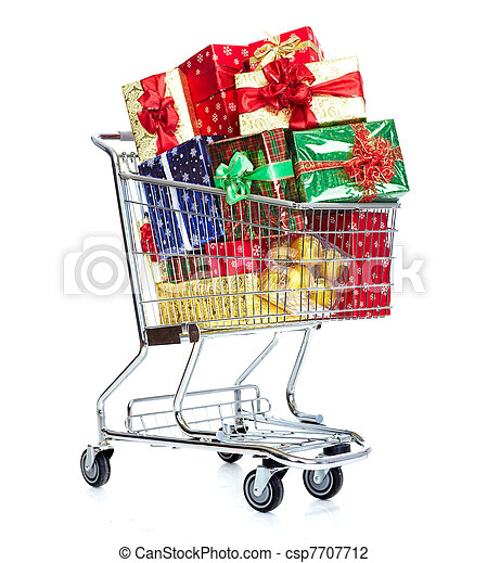 Christmas shopping cart with gifts. - csp7707712
