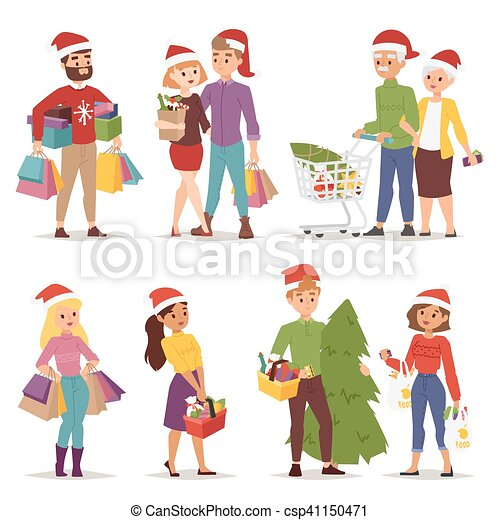 christmas shopping people vector collection going shopping rh canstockphoto com Christmas Shopping Background Christmas Shopping Art