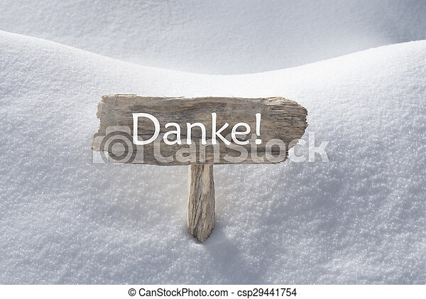 Christmas Sign With Snow Danke Means Thank You - csp29441754