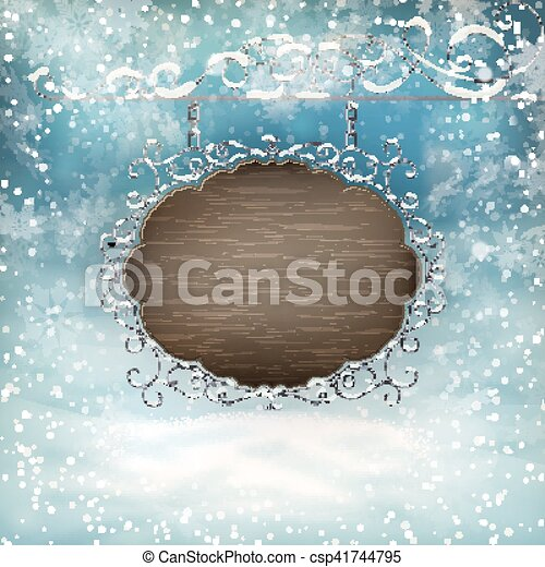 Christmas signboard template. eps 10. Winter landscape with... eps ...