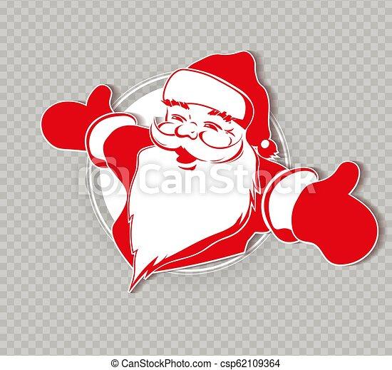 Christmas silhouette of Santa Claus, hands apart. - csp62109364