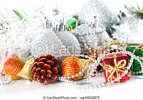 Christmas silver ball baubles with new year decoration, isolated - csp43032875