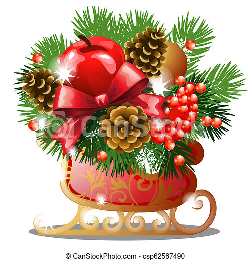 Christmas sketch with decor of golden ice skates with fir twigs, red ribbon bow, baubles, snowflake and pinecones. Sample of the poster, invitation and other cards. Vector illustration. - csp62587490
