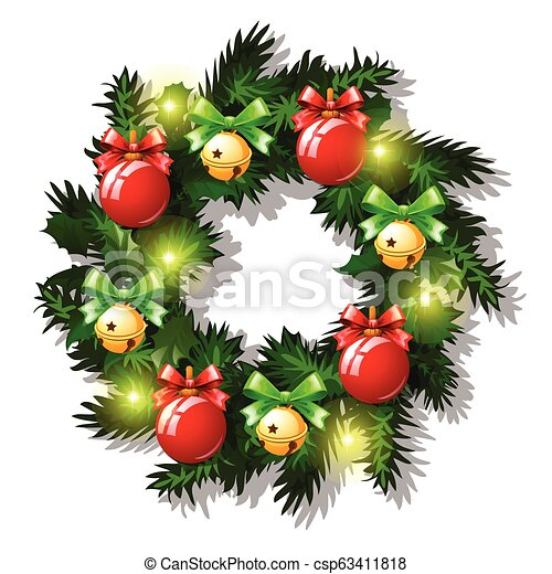 Christmas Sketch With Wreath Of Fir Twigs Decorated With Red Baubles And Glass Balls, Garland, Golden Jingle Bells, Red Ribbon Bow. Sample Of Poster, Invitation And Other Card. Vector Illustration. - csp63411818