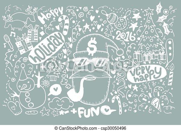 Christmas Sketchy Notebook Doodles- Hand-Drawn - csp30050496