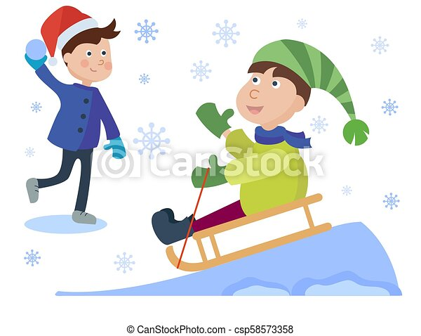 christmas sledding kids playing winter games cartoon new year winter holiday background vector