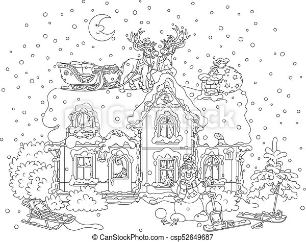christmas sledge of santa on a roof csp52649687