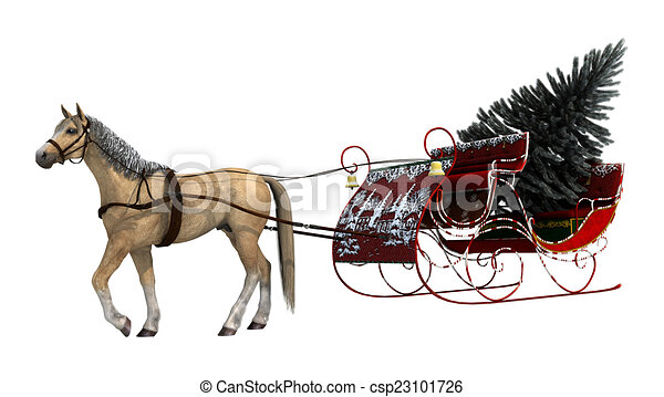christmas sleigh 3d digital render of a horse and a vintage