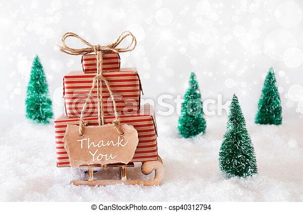 christmas sleigh on snow thank you csp40312794 - Christmas Sled