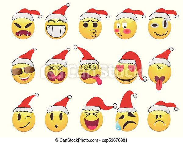 Christmas smiley face icons set - csp53676881