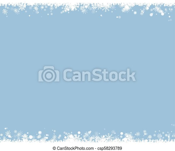 Christmas snow border. Snowflake vector background. - csp58293789