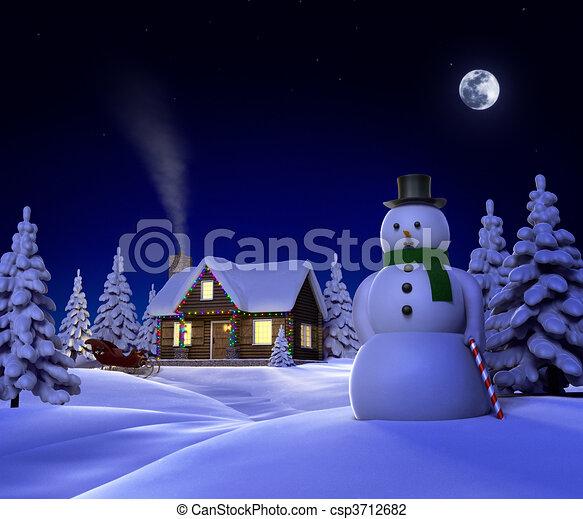 A Christmas Snow.Christmas Snow Cabin