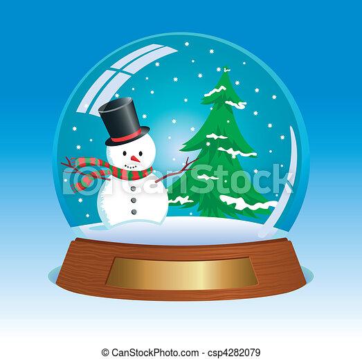 christmas snow globe with snowman and christmas tree inside