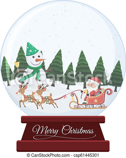 Christmas snow globe on white background - csp61445301