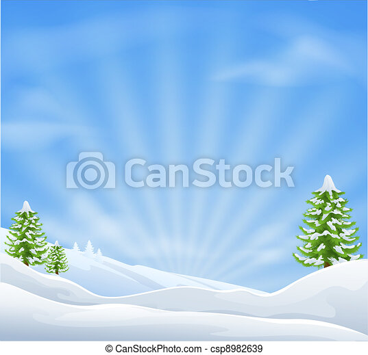 Christmas snow landscape background - csp8982639
