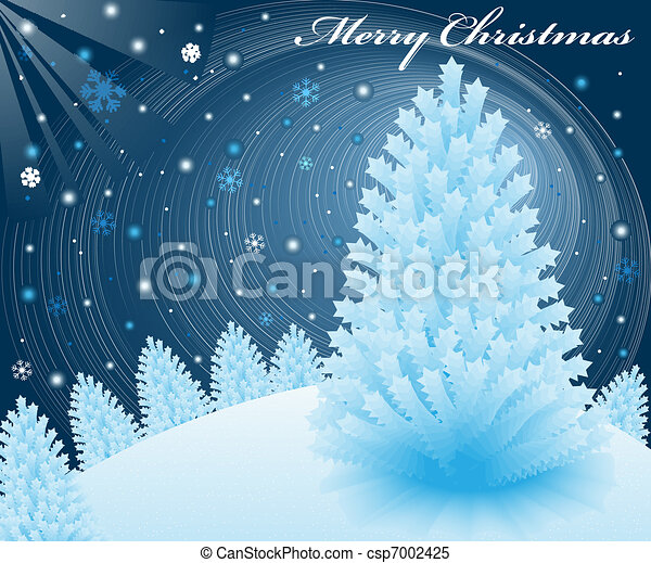 christmas snow scene at night with blue xmas fir trees on a snowy